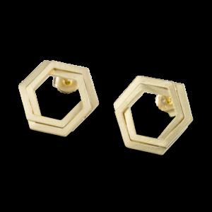 Bee Mine BEE MINE DOUBLE LINK HEXAGON POST EARRINGS 18K GOLD VERMEIL