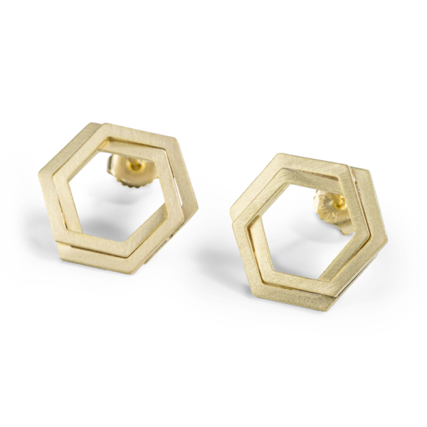Bee Mine BEE MINE DOUBLE LINK HEXAGON POST EARRINGS 18K GOLD VERMEIL