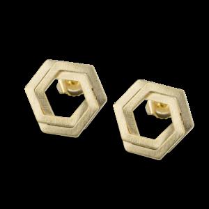 Bee Mine BEE MINE DOUBLE HEXAGON POST EARRINGS 18K GOLD VERMEIL