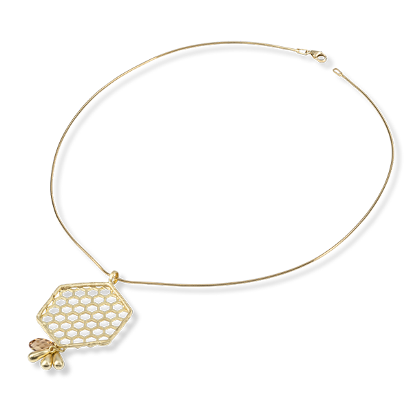 Bee Mine BEE MINE HEXAGON HIVE PENDANT 18K GOLD VERMEIL
