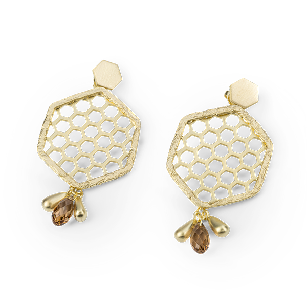 Bee Mine BEE MINE HEXAGON HIVE WITH STONE EARRINGS 18K GOLD VERMEIL