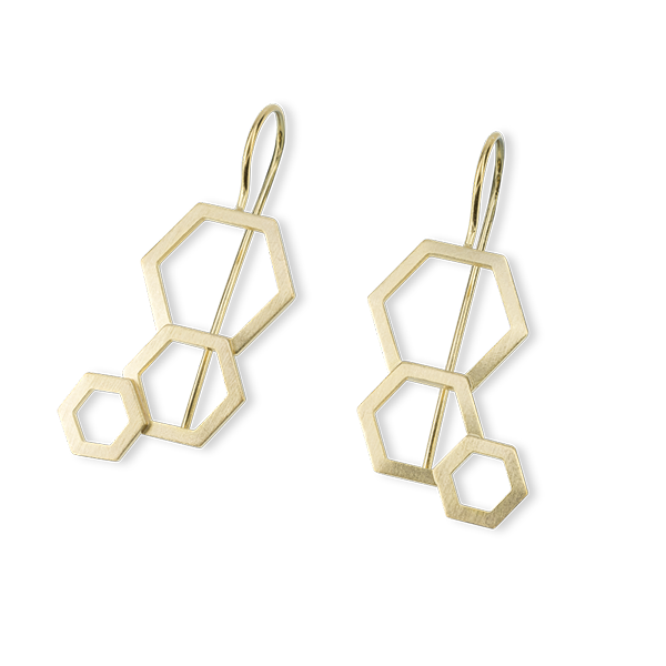 Bee Mine BEE MINE 3 OPEN HEXAGON WIRE EARRINGS 18K GOLD VERMEIL
