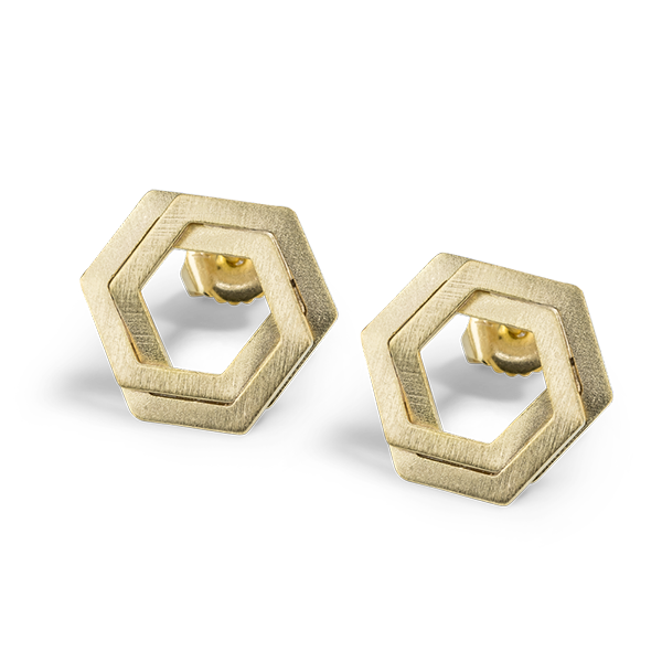 Bee Mine BEE MINE DOUBLE HEXAGON POST EARRINGS 18K GOLD VERMEIL