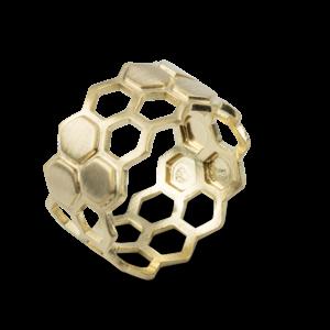 Bee Mine BEE MINE 2 ROW HEXAGON HIVE RING 18K GOLD VERMEIL