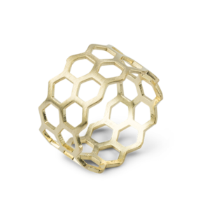 Bee Mine BEE MINE DOUBLE ROW OPEN HEXAGON RING 18K GOLD VERMEIL